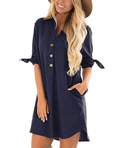Cnfio - Blusa de verano para mujer, elegante, cuello de pico, manga larga, media manga, un solo color, diseño de camisa corta, minivestido de playa Azul marino. L