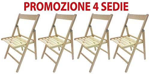 FRASM 4 sedie Pieghevole Sedia birreria in Legno natutale richiudibile per Campeggio casa