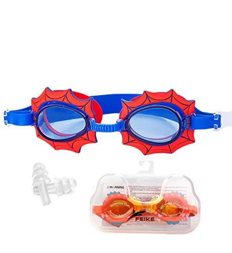 June Sports Cute Kids Swimming Goggles, Clear Vision Waterproof UV Protection Triathlon Swim Goggles No Fog with Free Protection Case for Children Teens,Multiple Cute Cartoon Styles Spider Web SG7
