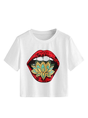 SheIn Women's Tie Dye Print Round Neck Short Sleeve Crop T-Shirt Top Small Graphic-White