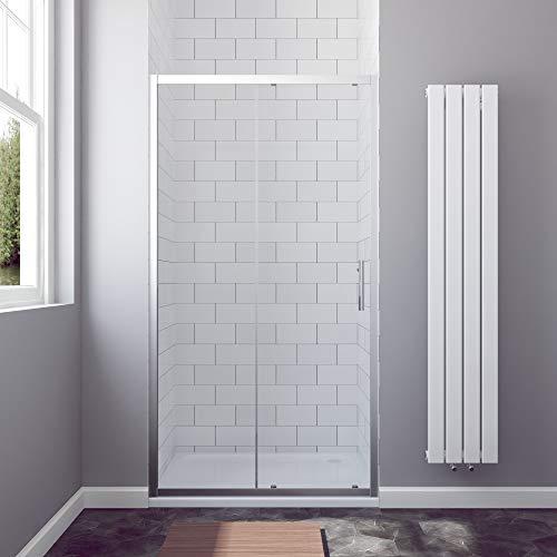 AQUABATOS® 110 x 185 cm Nischenschiebetür Duschabtrennung Duschtür Nischentür Schiebetür Duschwand Glas Dusche ESG