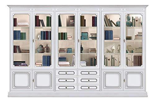 Vitrine Wohnwand Breite 3 Meter im klassischen Stil, Anbauwand aus Holz Glastüren für Wohnzimmer, Vitrine Stilmöbel 3 Meter aus Italien.