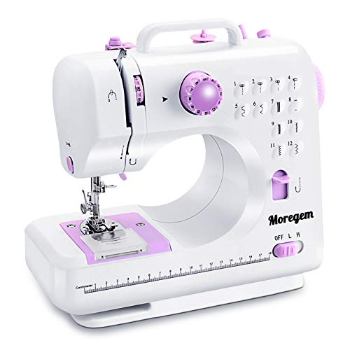 Moregem Sewing Machine Portable Electric Sewing Machine with 12 Built-in Stitches for Household Crafting & DIY