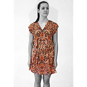 ART-DÉCO Kleid, Tunika mit Gürtel, marmorieren Art-Nouveau Jugendstil
