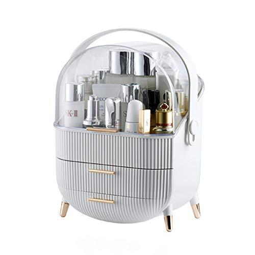 XSARACH Aufbewahrung für Kosmetik, Große Acryl Aufbewahrungsbox mit 2 Schubladen, Schminke Utensilien aus PS für Bad,Schlafzimmer stilvolles Schubladensystem mit Chromgriffen,Weiß