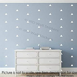 Triangle Signs Wall Stickers 110 pieces 3cm, Removable Vinyl Wall Decals, Kid's Room Decor, Girls Bedroom Decor, triangle wall stickers green, Gold, Soft pink, Blue