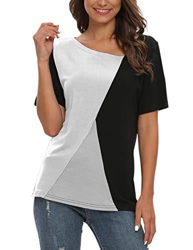 AUSELILY Camisetas de Manga Corta para Mujer Blusas Tops de túnica con Bloques de Color Patchwork.(Negro Blanco,36-38)