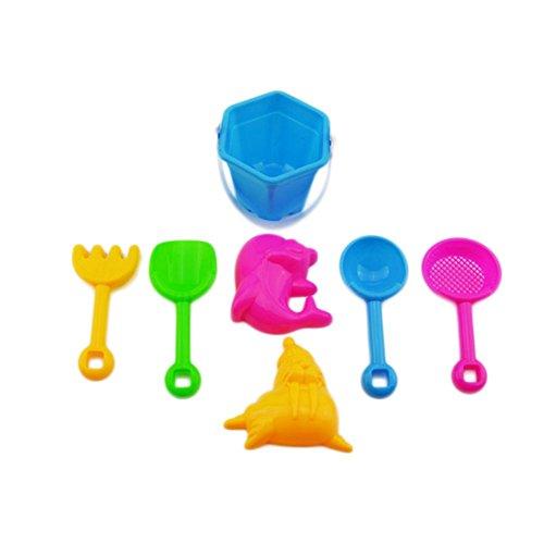 JUNGEN Jouet Sable Plage Jeux Plage Jardin Bac Plastique Cadeau Coloré pour Bébé Enfant Seau Jouets Ensemble De 7
