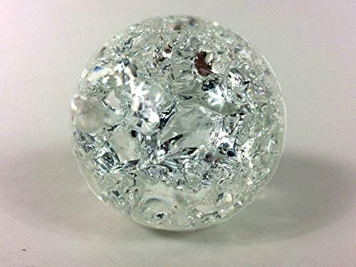 2' Waterfall Aquarium Fountain Spinning Ball Cracked Style Clear Glass Feng Shui