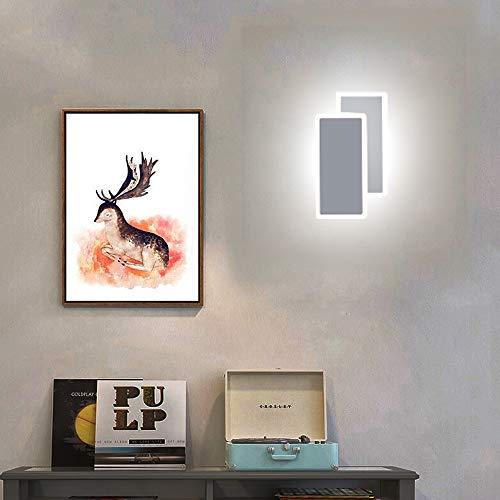 Lámpara de pared LED cuadrada de 14 W, para interiores, moderna, de acrílico, diseño de llama, iluminación de pared para salón, dormitorio, escalera, pasillo, arte, lámpara decorativa (blanco frío)