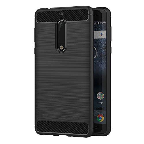 AICEK Nokia 5 Hülle, Schwarz Silikon Handyhülle für Nokia 5 Schutzhülle Karbon Optik Soft Hülle (5,2 Zoll)