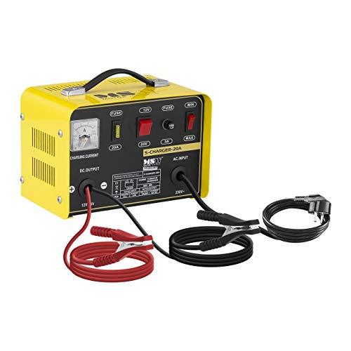 MSW Autobatterie Ladegerät Kfz Batterieladegerät S-Charger-20A (Kühlsystem, 12/24 V Ladespannung, 8/12 A Ladestrom, 12-200 Ah, 500 W, angepasste Ladestärke MIN/MAX, kompakt)