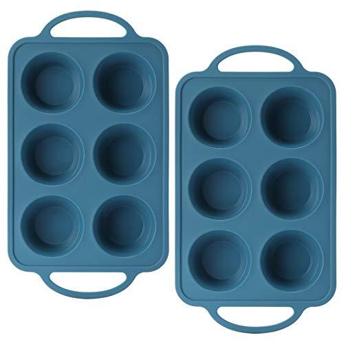 iheyfill 2 Stück Muffinform aus Silikon für 6 Muffins mit Edelstahlrahmen, Antihaft Ø 7 cm Muffinbackformen Muffinblech Muffinbackblech Muffin Backform für Cupcakes, Pudding