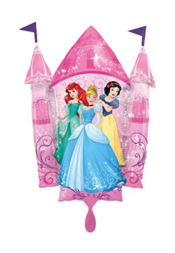 Balloon BANG - XXL Folienballon - Prinzessinnen Schloss Motiv mit Schneewitchen Cinderella Arielle - 88cm Super Shape - Geschenkideen zum Geburtstag Valentinstag Hochzeit, Party Dekoration, Rosa