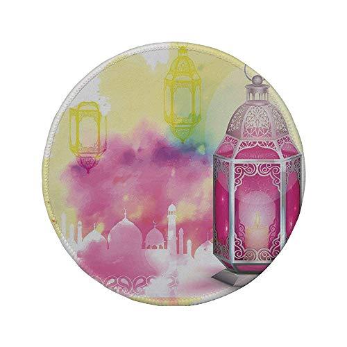 Rutschfreies Gummi-rundes Mauspad Laterne Silhouette einer Moschee Religiöse künstlerische Komposition mit antiker Laterne Pink Mehrfarbig 7,87 'x 7,87' x 3 mm