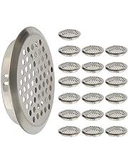 FOCCTS 20 stuks Ø 53 mm roestvrij staal ventilatierooster rond ventilatierooster voor ventilatie en ontluchting, ontluchtingsrooster ventilatierooster voor camper/badkamer/keuken etc, zilver