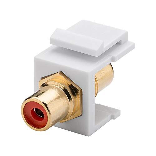 Goobay 79669 Keystone Modul mit Einrastvorrichtung, RCA Verbinder, Cinch-Buchse > Cinch-Buchse, Audio & Video Anschluss, Kunststoffgehäuse, gold, rot