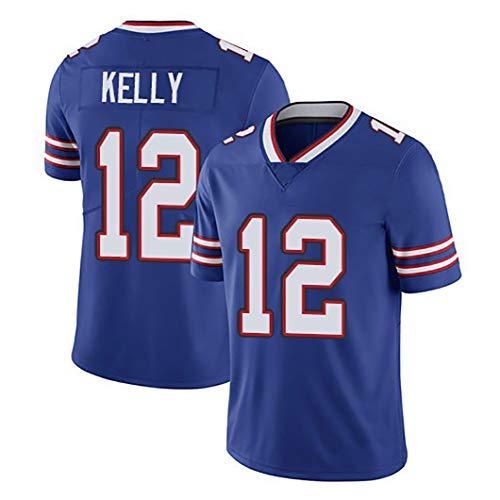 RENDONG NFL Jersey del Fútbol De Élite Bill Bordado Camiseta con 12 El Número Kelly Mediados De New Jersey Juvenil Nivel,Azul,L
