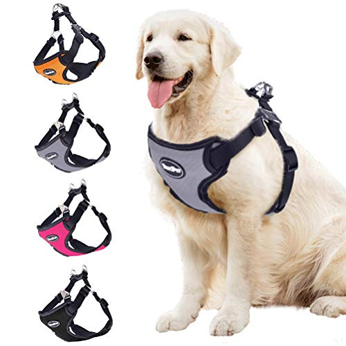 BINGPET No Pull Dog Harness Adjustable Soft Vest Reflective for Outdoor Walking, Grey Small