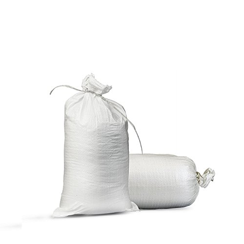 """Empty White Sandbags Woven Polypropylene, Heavy Duty Sand bags for Flooding, Up to 1600 of UV Protection 14"""" x 26"""" (Bundle of 10)"""