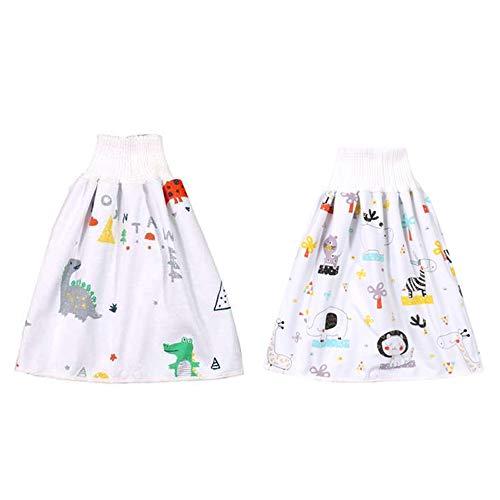 panthem 2 piezas Falda de pañales para niños, 2 en 1, falda de entrenamiento para dormir en la noche del bebé, antimojar la cama, lavable de algodón fibra de bambú ropa de cama impermeable, L