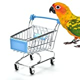 Mini Supermarket Shopping Cart Trolley Bird Funny Intelligence Toy for Parrot Budgie Parakeet Cockatiel Conure Lovebird Finch Cockatoo African Grey Macaw Eclectus Amazon Cage Box (Blue)