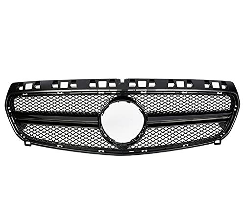 ZMYCJDM Parrillas de Carreras de automóviles, para W176 a Clase Frente a Grill Grille 2013 2014 2015 AMG Black Outdoor Braceet Kit Accesorios