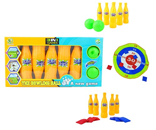 Toyland® 3 in 1 spelset - Bowlen, zandzakken en doelspel - Sport- en buitenspeelgoed