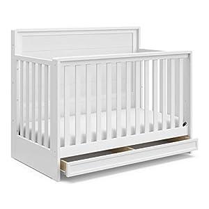 STORKCRAFT Luna 4in1 Convertible Crib with Drawer FullSize Storage Drawer for Nursery Essentials Adjustable Mattress Height Fits Standard Size Crib Mattress Converts Into FullSize Bed, White