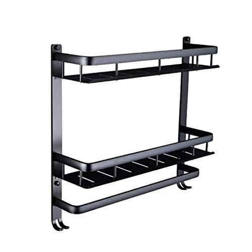 LYMJJ Porte-cosmétique avec étagère Porte-Serviettes de Bain rectangulaire en Aluminium Espace Rack Mural