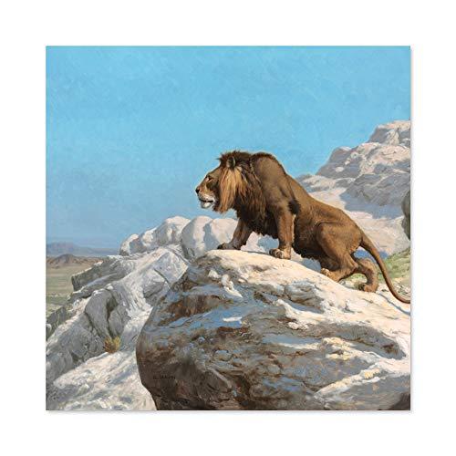 Gerome Leeuw Op De Horloge Grote Muur Kunst Poster Print Dikke Papier 24X24 Inch