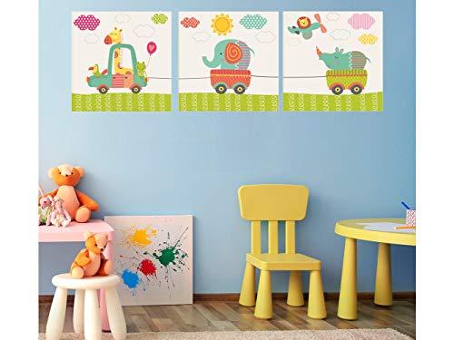 Oedim - Pack de 3 Cuadros Infantiles Cartón Ecológico Animalitos en Coche |30 x 30 cm | Decoración Habitación Diseño Elegante | Cantos Impresos |