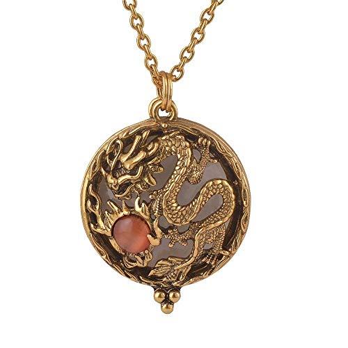 KONGZIR El Nuevo Vidrio Lupa y Cuentas de Piedra Colgante de Collar Drangon Antigua joyería de Oro for Abrir y Cerrar