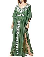YouKD Vestido Largo de Kaftan Largo de Verano para Mujer Traje de Baño Bohemio Batas de Playa