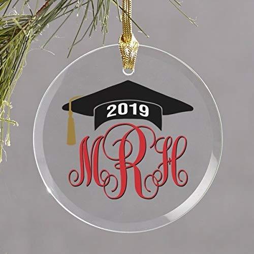 Yor242len - Adorno de graduación de Cristal, Personalizable con Iniciales de año de Secundaria, Regalo de graduación universitaria, Regalo para él o para Ella