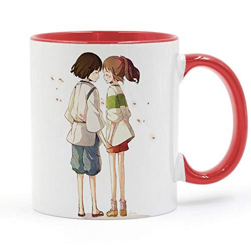 Chihiro Y Haku Miyazaki Hayao Taza De Dibujos Animados Taza De Café con Leche Taza De Cerámica Creativa Regalos De Bricolaje Decoración para El Hogar Tazas 11Oz T299-Red_301-400Ml