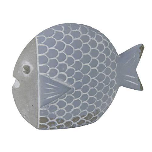 Objektkult Deko Fisch aus Zement im Stein-Look, blau-grau, Elegantes Design, vielseitig einsetzbar in der Wohnung, im Bad oder im Garten, Maße (H x B x T): 7 x 9,5 x 3 cm