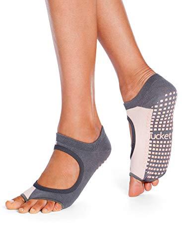 Tucketts Womens Yoga Socks, Toeless Non Slip Skid Grippy Low Cut Socks for Yoga, Pilates, Barre, Studio, Bikram, Ballet, Dance, Workout, Exercise - Allegro Style (Vertical Block Grey/Blush)