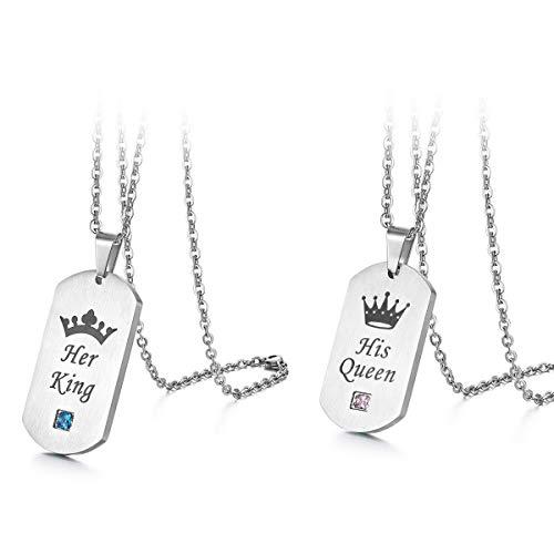Flongo Partner Anhänger Freundschaftsketten Halskette für 2, Zirkonia Edelstahl BFF Kette mit His Queen, Her King Gravur Erkennungsmarke Dog Tag Silber Partnerketten Herren,Damen