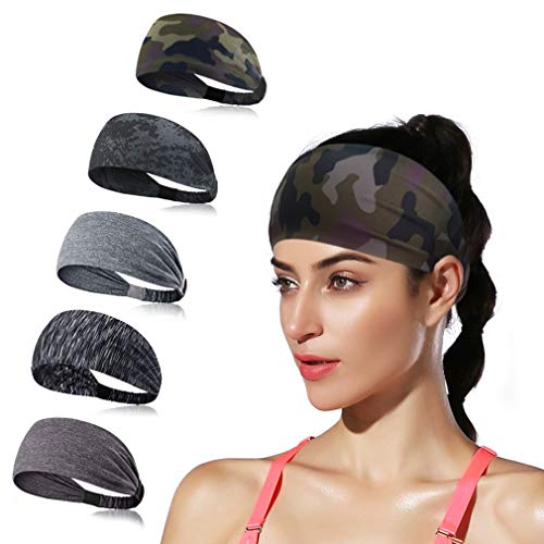 DINIGOFIN Wide Sports Headbands for Women Non Slip Fitness Headband Moisture Wicking Sweatband for Workout Yoga Running and Athletic,Camo 5PCS