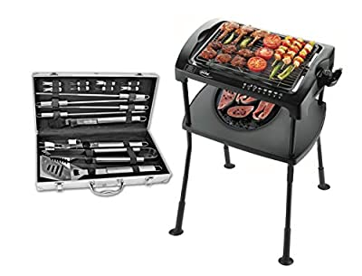 Elta Grill-Set Standgrill 2000W + Grillbesteck 16Tlg Grill Gartengrill Partygrill