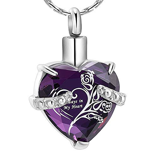 constantlife Crystal Heart Shape Cremation Jewelry Memorial Urn Necklace for Ashes, Stainless Steel Ash Holder Pendant Keepsake with Gift Box Charms Accessories for Women (Purple + White)