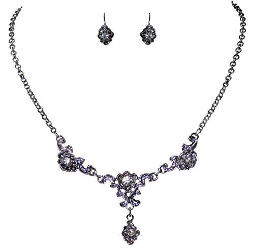 Trachtenschmuck klassisches Dirndl Kristall Collier Set - Kette und Ohrringe - Brisur (Crystal Kristall klar)