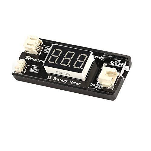 Ballylelly-1S LiPo-Batteriespannungsprüfer-Messgerät für RC Drohne Quadcopter-Batterie für JST MCX PH 2.0, Micro-Losi-Kabel