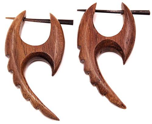 Bali PAPAYA - Pendientes falsos dilatadores de madera para hombre y mujer, diseño de espiral marrón