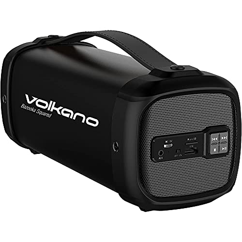 Volkano Portable Bluetooth Speaker with Subwoofer True Wireless, 13W Peak Power 3 Hour Playtime Loud Dynamic Sound, Integrated Aux Input/USB/SD Card Slot, Carry Handle [Black] - Squared Series