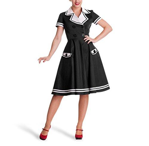 Rockabilly Matrosin Kleid 50ziger Jahre Look Pin-Up Rock`n Roll schwarz knielang - S