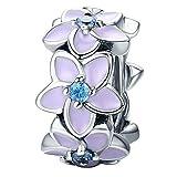 Orchidee Blumen Charm Spacer mit Emaille für Pandora 925 Sterling Silber