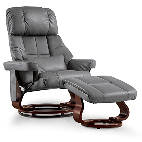 Mcombo Recliner with Ottoman Reclining Chair with Vibration Massage and Lumbar Pillow, 360 Degree Swivel Wood Base, Faux Leather 9068 (Grey)
