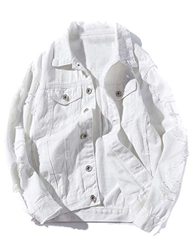 Womens Plus Size White Solid Distressed Ripped Long Sleeve Denim Jean Jacket
